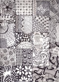 Zentangle Patterns For Beginners | My First ZenSample (Zentangle Sample)!!! I loved doing this. All my 5 ...