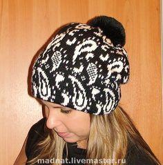 """Купить шапка двойная """"Огурцы"""" черно-белая - шапка, вязаная шапка, шапка женская"""