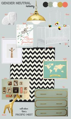 Gender Neutral Nursery Mood Board. love the wall color with black/white/gold accents
