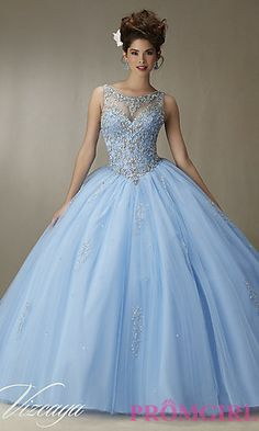 Long Bateau Neck Quinceanera Dress by Mori Lee at PromGirl.com