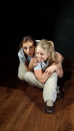 """Elkanah House grade 12 Drama pupils were performing clowning integrated tasks as part of their studies in """"Theatre of the Absurd"""". Pictured here: Natasha Laing and Grace Goss performing an excerpt of """"Waiting for Godot"""". Photo: Julie Dickson"""
