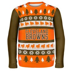 Cleveland Browns NFL Ugly Sweater Wordmark available at uglyteams.com. Check out uglyteams.com for other merchandise and accessories! #Cleveland #Browns