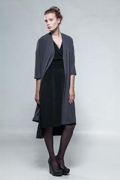 Grey silky kimono type coat-dress.