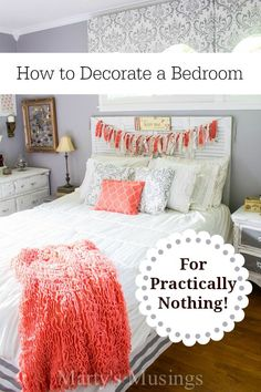 Blogger Marty's Musings shows you how to decorate a bedroom for practically nothing using yard sale finds, thrifted decor and DIY projects with creativity. Includes no sew window treatments, chalk painted furniture and frugal crafty accessories for a one of a kind, beautiful bedroom on a budget!
