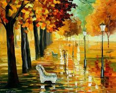 Autumn's Kiss Artwork By Leonid Afremov Oil Painting & Art Prints On Canvas For Sale Amazing Paintings, Original Paintings, Oil Painting On Canvas, Painting Frames, Painting Art, Oil Painting Reproductions, Leonid Afremov Paintings, Modern Wall Art, Oeuvre D'art