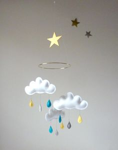 "Rain Cloud Mobile for Nursery ""MERLIN"" with gold  star. $59,00, via Etsy."