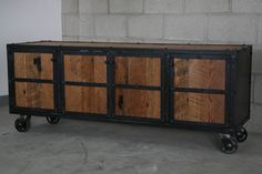 Industrial Rustic Media Console- Reclaimed Wood