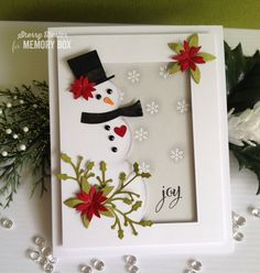 Happy mid-week everyone! Oh my gosh, it's almost Christmas!! It's snowman building time, and my card today features the Snowman Collage die. I kept this one pretty simple. I die cut the snowman from a quarter sheet of white card stock and trimmed it down to 3.75