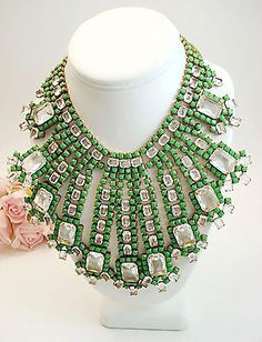 Vintage-Style-HUSAR-D-Costume-Jewelry-Green-Clear-Runway-Rhinestone-Necklace