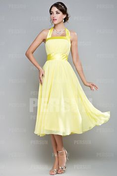 Mablethorpe Cute Halter Ribbon Pleats Yellow Bridesmaid Gown