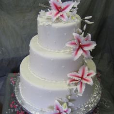 Really like this cake but with some green accent.  Maybe some forest green ribbon around the bottom of each layer