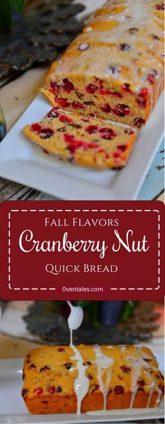This is a healthy and delicious cranberry nut bread that gets ready in under 1 hour. the tart berries add color and flavor while the nuts add a little crunch. Drizzle on the glaze for that extra touch sugar Indian Food Recipes, Real Food Recipes, Dessert Recipes, Quick Bread Recipes, Baking Recipes, Cranberry Quick Bread, Savoury Baking, Sweet Bread, Glaze
