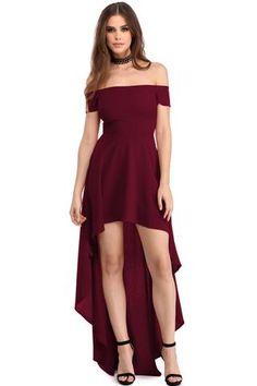 Robes de Soiree Rouge Bordeaux Col Bardot Courte Devant Longue Derriere