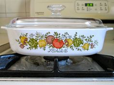 1970's Vintage Corning Ware Spice of Life Casserole Baking Dish with Glass Pyrex Lid