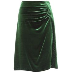 Prada Ruched Velvet Skirt (€915) ❤ liked on Polyvore featuring skirts, green, shirred skirt, green skirt, gathered skirt, velvet skirt and prada skirt