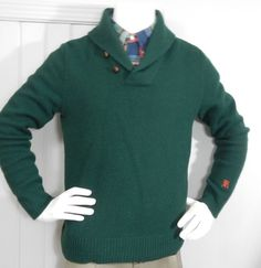 Rugby Ralph Lauren Mens Green Shawl Pullover 100% Shetland Wool SZ M in Clothing, Shoes & Accessories, Men's Clothing, Sweaters | eBay