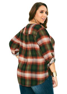 Rolled Sleeve Plaid Popover Shirt - Ashley Stewart