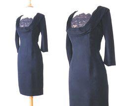 Vintage 50s Dress 1950s Cocktail Dress Illusion Lace Shelf