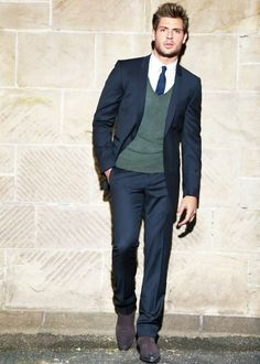 I like the idea of breaking the monotony of all blue with a green cardigan, formal men's wear, suit, tie n cardigan. #Style