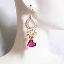 Cluster Earrings - Chandelier Earrings -Hot Pink Quartz And Gold