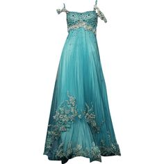 Randa Salamoun - edited by mlleemilee found on Polyvore featuring dresses, gowns, long dresses, blue dress, blue gown, long blue dress, blue ball gown and blue evening dress