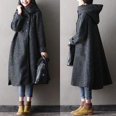 Women winter long woolen coatPretty much my ideal coat Hijab Fashion, Fashion Outfits, Womens Fashion, Fashion Vestidos, Diy Kleidung, Long Wool Coat, Long Coats, Mode Hijab, Mode Inspiration