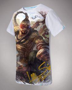 Branco camiseta de manga curta League of Legends Lee Sin para homens LOL jogo-