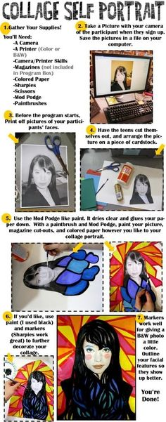 Collage Self Portrait Instructions: A program for teens, or any age, really.  Revised Instructions from Rachel Moani by lorene