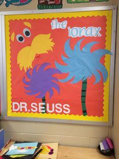 """The Lorax"" themed preschool bulletin board"