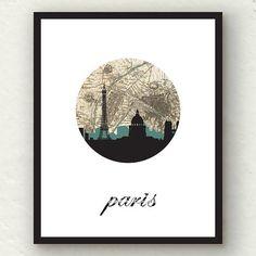 Paris Decor Paris Map Eiffel Tower Paris by PaperFinchDesign