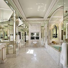 Bathroom and mirrors.