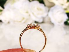 Vintage Opal & Diamond Ring Alternative Engagement Ring 14K Gold Dainty Victorian Style Diamond Wedding Ring October Birthstone Ring!