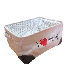 Look at this #zulilyfind! White 'I Love My Dog' Storage Bin by Azzure Home #zulilyfinds