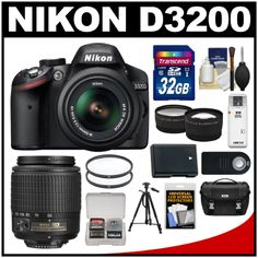 Nikon D3200 Digital SLR Camera & 18-55mm G VR & 55-200mm DX AF-S Zoom Lens (Black) with 32GB Card + Case + Battery...