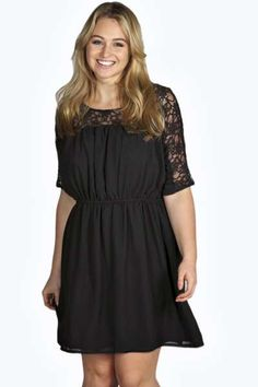 Isobel Woven Lace Skater Dress at boohoo.com