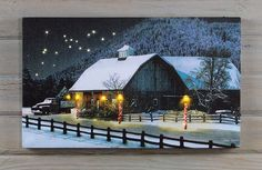 New Lighted Barn Picture. Radiance flickering candle light of designs available at Shelley B Home and Holiday. Hanging Christmas Lights, Christmas Wall Art, Blue Christmas, Christmas Ideas, Christmas Gifts, Barn Pictures, Winter Pictures, Lighted Canvas Pictures, Snowflake Lights