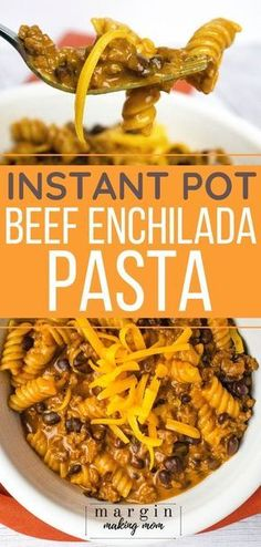 This Instant Pot enchilada pasta is full of beef beans and pasta all wrapped in a creamy cheesy sauce. It's a great one-pot casserole perfect for busy families! Beef Steak Recipes, Beef Recipes For Dinner, Instant Pot Dinner Recipes, Mexican Food Recipes, One Pot Recipes, Cheap Recipes, Simple Recipes, Enchilada Pasta, Beef Recipe Instant Pot