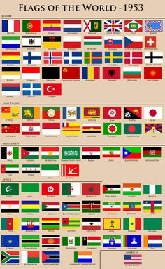 Alternate History flags of the World, 1953 All World Flags, All Flags, Countries And Flags, Countries Of The World, Learn To Write Cursive, County Flags, Alternate History, Flag Design, National Flag