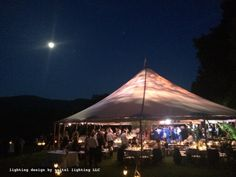 Sailcloth tent in Williamstown, MA with lighting design by Julie Seitel Wedding Tent Lighting, Tent Wedding, Sailing Outfit, Lighting Design, New England, Summer, Beautiful, Light Design, Summer Time
