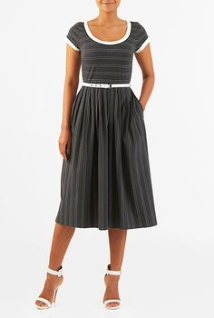 I <3 this Contrast trim stripe cotton knit belted midi dress from eShakti