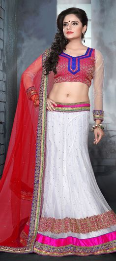 154926: WEDDING LEHENGA - new range of white #bridalwear with colored blouse. Order at flat 15% + extra 5% off.Use promocode.  #lehenga #weddingcouture #onlineshopping #partywear #indianfashion