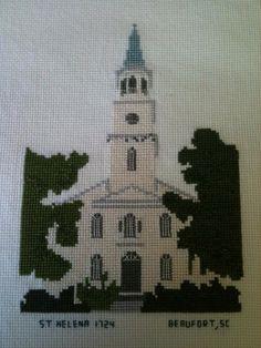 #cross-stitch St. Helena's Church, Beaufort, SC