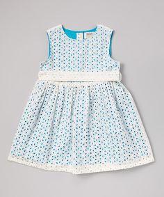 White & Blue Eyelet Dress - Infant, Toddler & Girls