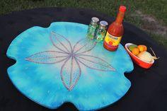"Aqua Blue,  Lazy Susan, 18"" across, Turntable, Kitchen art, Coastal Home, Beach House Art, Coastal Kitchen, Family Table, Centerpiece by HappyHomeDesignArt on Etsy"