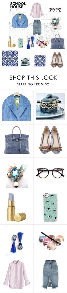 """""""look of the day"""" by mouna-marini ❤ liked on Polyvore featuring BCBGMAXAZRIA, Hostess, Hermès, Prada, Ace, Too Faced Cosmetics, Casetify, Bellápierre Cosmetics and River Island"""