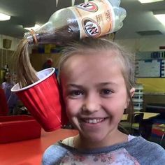 Super cute easy DIY Halloween costume, uses root beer bottle, red solo cup, and ponytail w/ long hair