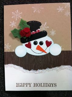 Christmas card...punch art snowman with an adorable heartful smile...