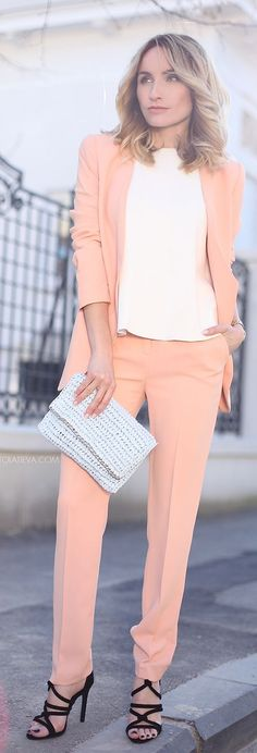 Peach Suit Outfit Idea