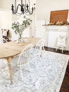 If your dining room is used only for holidays because it seems too formal, cold, and uninviting, you are losing an important part of your home. Cozy may not be a term commonly used when describing a dining room, but many people… Continue Reading → Farmhouse Dining Room Rug, Farmhouse Style Rugs, Area Rug Dining Room, Cottage Dining Rooms, Dining Room Design, Rugs In Living Room, Cottage Rugs, Vintage Inspiriert, Diane