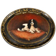 Platter of Cavalier King Charles Spaniel | From a unique collection of antique and modern decorative objects at http://www.1stdibs.com/furniture/more-furniture-collectibles/decorative-objects/